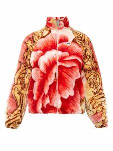 Marine Serre - Floral Print Fleece Jacket - Womens - Pink Multi