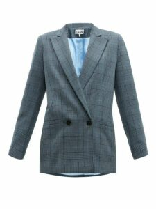 Ganni - Prince Of Wales Check Double Breasted Blazer - Womens - Grey