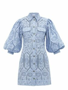Ganni - Balloon Sleeve Broderie Anglaise Mini Shirt Dress - Womens - Light Blue