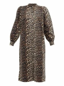 Ganni - Leopard Print Denim Dress - Womens - Leopard