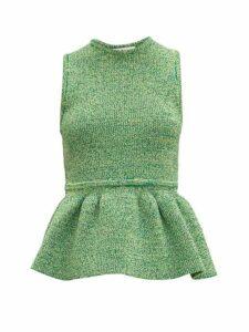 Tibi - Ribbed Knit Peplum Top - Womens - Green