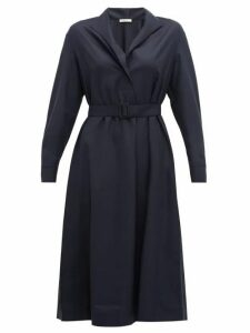 The Row - Tula Belted Wool Shirt Dress - Womens - Navy