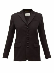 Saint Laurent - Peak Lapel Single Breasted Wool Blazer - Womens - Black