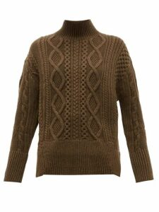 Proenza Schouler - Cable Knit Wool Sweater - Womens - Dark Green