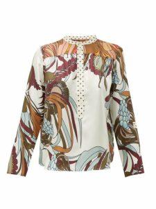 La Prestic Ouiston - Romee Floral Print Silk Twill Shirt - Womens - White Multi