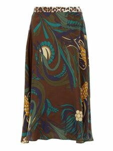 La Prestic Ouiston - Floral Print Silk Twill Midi Skirt - Womens - Brown Multi