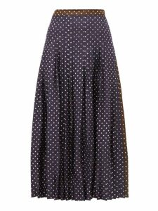 La Prestic Ouiston - Gabrielle Polka Dot Print Silk Skirt - Womens - Navy Multi