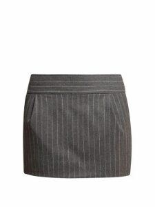 Alexandre Vauthier - Pinstriped Wool Blend Mini Skirt - Womens - Grey Multi