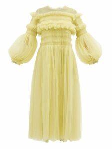 Molly Goddard - Emerald Frilled Tulle Smock Dress - Womens - Light Green