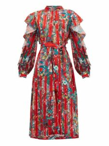 Golden Goose - Chieko Ruffled Floral Print Crepe De Chine Dress - Womens - Red Multi