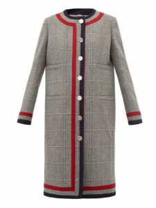 Thom Browne - Fine Checked Nautical Wool Overcoat - Womens - Grey Multi