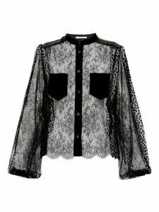 Givenchy - Floral Embroidered Lace Blouse - Womens - Black