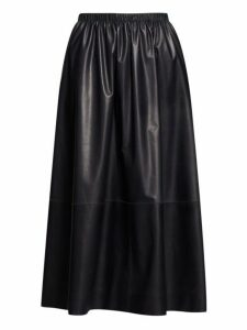 The Row - Tilia Leather Midi Skirt - Womens - Navy