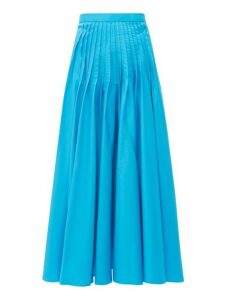 Roksanda - Ambra Pintuck Pleat Cotton Poplin Midi Skirt - Womens - Blue