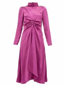 Sies Marjan - Nara Gathered Charmeuse Midi Dress - Womens - Pink