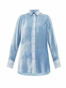 Sies Marjan - Sander Silk Blend Velvet Corduroy Shirt - Womens - Light Blue