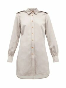 Sies Marjan - Kelsi Longline Cotton Blend Satin Shirt - Womens - Light Grey