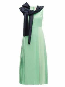 Roksanda - Tie Neck Pleated Midi Dress - Womens - Light Green