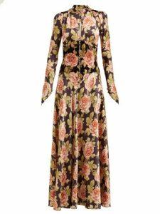 Paco Rabanne - Rose Print Satin And Velvet Maxi Dress - Womens - Multi