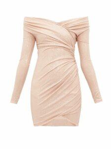 Alexandre Vauthier - Crystal Embellished Off The Shoulder Jersey Dress - Womens - Light Pink