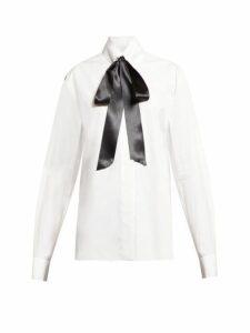 Alexandre Vauthier - Pussy Bow Cotton Poplin Blouse - Womens - White