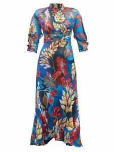 Peter Pilotto - Floral Print Hammered Silk Blend Dress - Womens - Gold