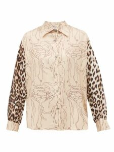La Prestic Ouiston - Varenne Abstract & Leopard Print Silk Twill Shirt - Womens - Beige Multi
