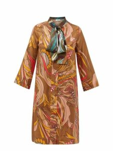 La Prestic Ouiston - Societe Printed Silk Twill Dress - Womens - Brown Multi
