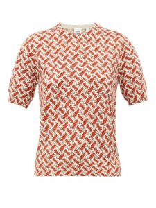 Burberry - Tb Print Short Sleeved Wool Sweater - Womens - Red