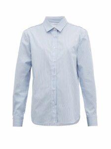 Golden Goose - Deconstructed Striped Cotton Poplin Shirt - Womens - Blue