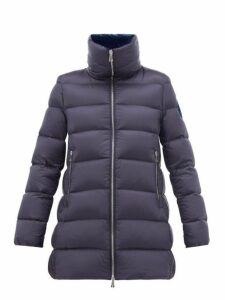 Moncler - Torcon Velvet Lined Quilted Down Coat - Womens - Dark Blue
