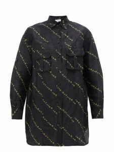 Ganni - Micro Floral Print Linen Blend Shirtdress - Womens - Black Multi