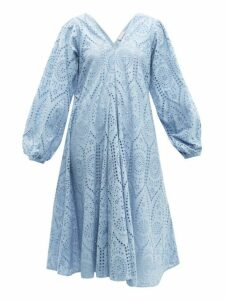 Ganni - Balloon Sleeved Broderie Anglaise Cotton Dress - Womens - Light Blue