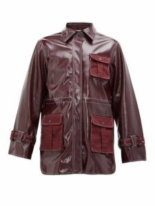Ganni - Patent Technical Jacket - Womens - Burgundy