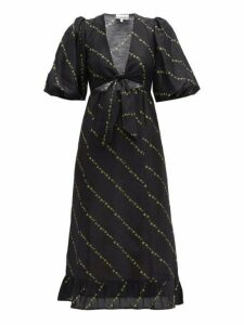 Ganni - Tie Front Floral Print Linen Blend Midi Dress - Womens - Black Multi