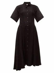 Loewe - Feather Jacquard Asymmetric Satin Midi Dress - Womens - Black