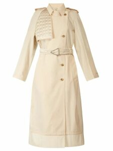 Bottega Veneta - Contrast Panel Belted Trench Coat - Womens - Ivory