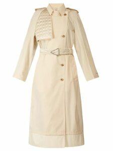 Bottega Veneta - Contrast Panel Belted Trench Coat - Womens - Ivory