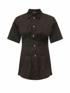 Isabel Marant - Gramy Pleated Cotton Canvas Shirt - Womens - Black