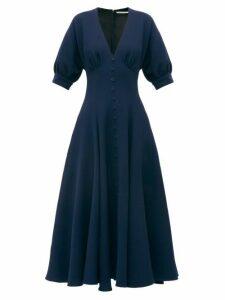 Emilia Wickstead - Bria Flared Wool Crepe Midi Dress - Womens - Navy
