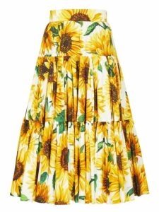 Dolce & Gabbana - Sunflower Print Tiered Cotton Poplin Midi Skirt - Womens - Yellow Multi