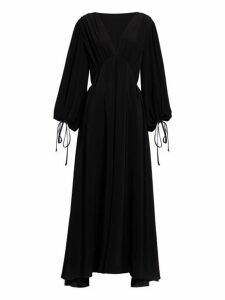 The Row - Sante Plunge Neck Silk Crepe Gown - Womens - Black