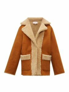 Natasha Zinko - Construction Print Single Breasted Shearling Coat - Womens - Beige Multi