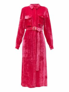 Sies Marjan - Imogene Silk Blend Velvet Corduroy Midi Dress - Womens - Fuchsia