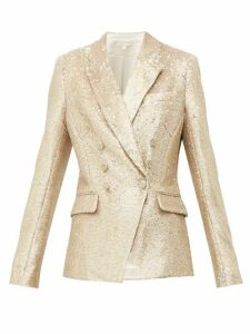 Jonathan Simkhai - Distressed Sequinned Double Breasted Blazer - Womens - Gold