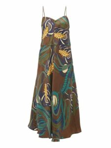 La Prestic Ouiston - Floral Print Silk Twill Midi Dress - Womens - Brown Multi