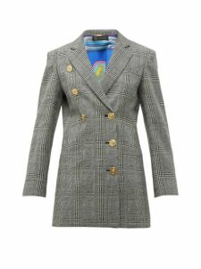 Versace - Double Breasted Prince Of Wales Check Wool Blazer - Womens - Grey Multi
