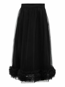 Molly Goddard - Leonie Ruffled Tulle Midi Skirt - Womens - Black
