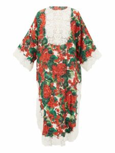 Dolce & Gabbana - Lace Trimmed Geranium Print Silk Blend Dress - Womens - Red Multi