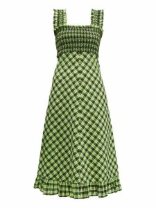 Ganni - Checked Cotton Blend Midi Dress - Womens - Black Green